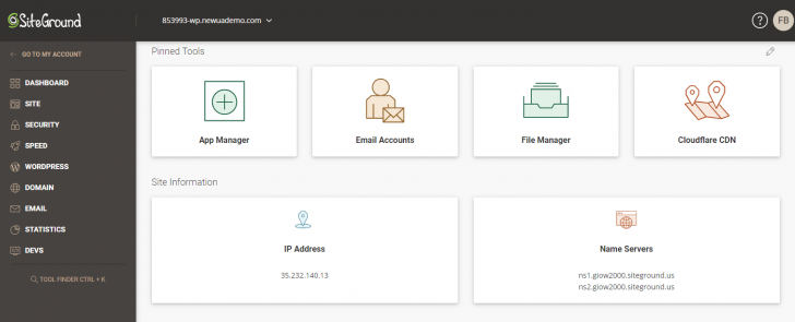 "Área ""Site Tools"", no novo painel da SiteGround"
