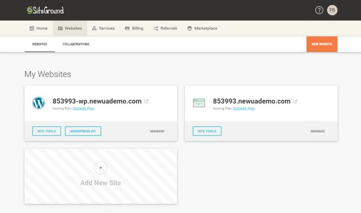 Seção de websites no novo painel da SiteGround