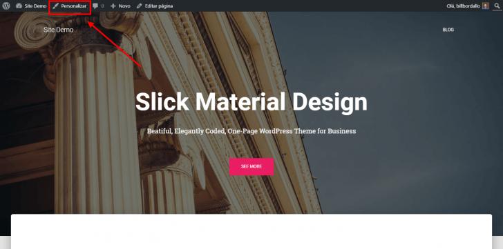 A personalização visual do WordPress pode ser ativada em qualquer página do site