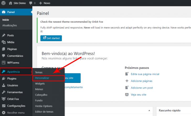 A personalização visual também pode ser alcançada por dentro do painel de administração do WordPress