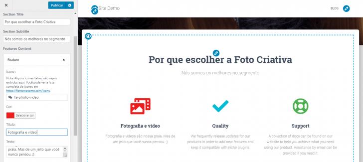 Área para edição do ícone no modo de personalização do WordPress