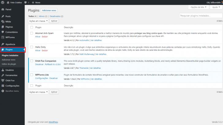 Localização da área de plugins no painel de administração do WordPress