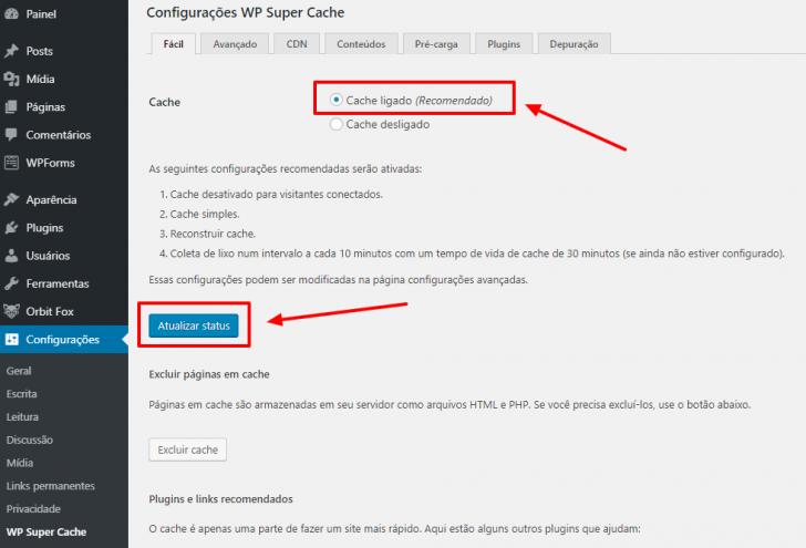 Configuração básica do plugin WP Super Cache