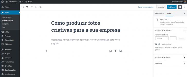 Tela de edição de posts no painel do WordPress