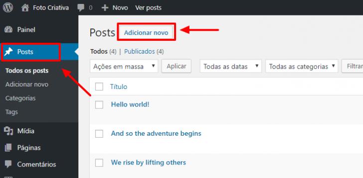Caminho para criar um novo post no painel de administração do WordPress