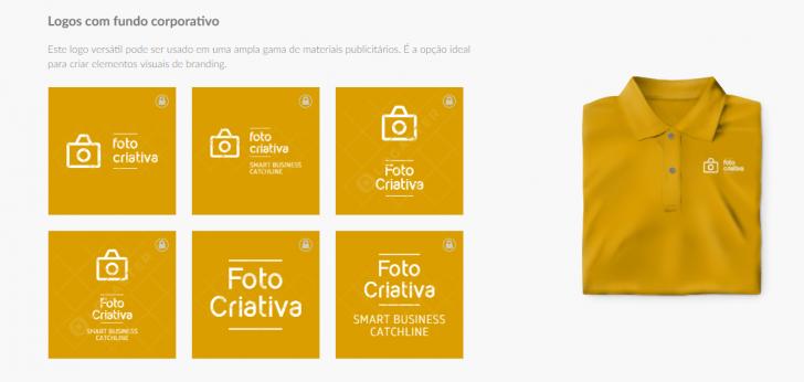 Exemplos de aplicação do logotipo, no site da Logaster