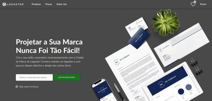 Página inicial do site de criação de logos Logaster