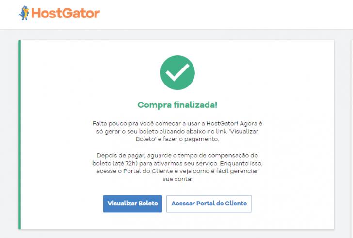 Tela de confirmação da compra na HostGator