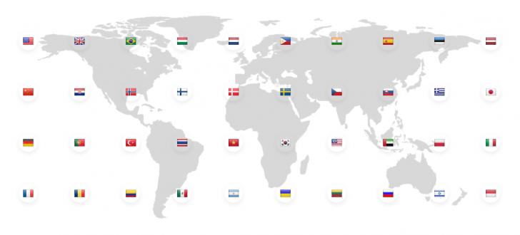 Mapa mundi com bandeiras de diversos países sobre o mapa.