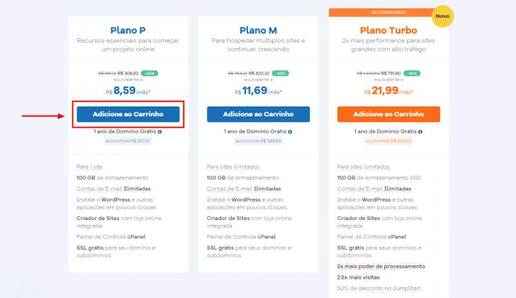 Tabela de planos HostGator, com o plano P destacado