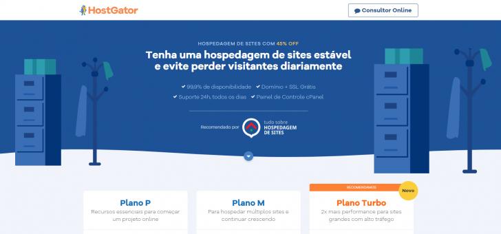 Página de planos de hospedagem de sites HostGator