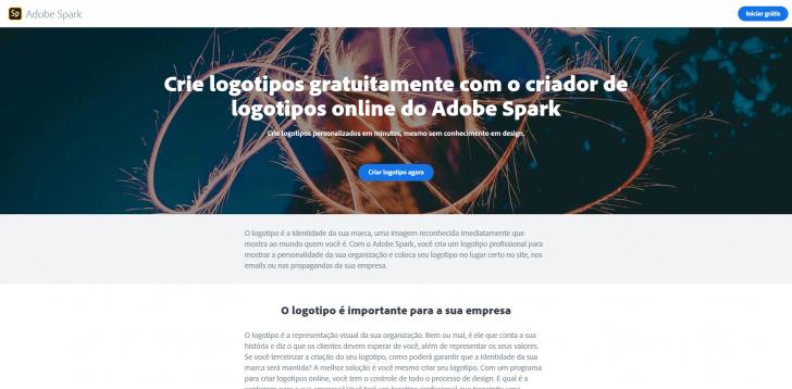 Página do criador de logos da Adobe Spark