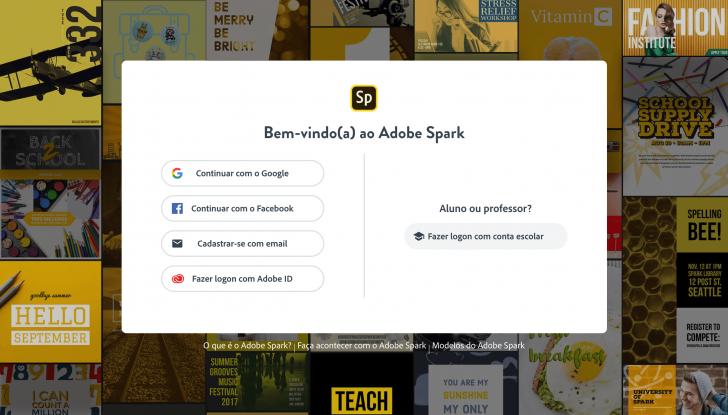 Página inicial de cadastro no Adobe Spark