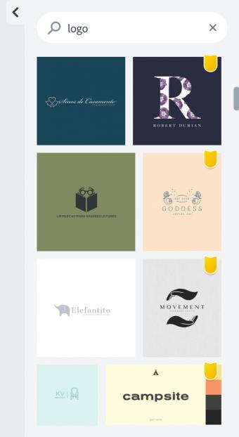 Alguns modelos de logotipos para personalizar no Adobe Spark