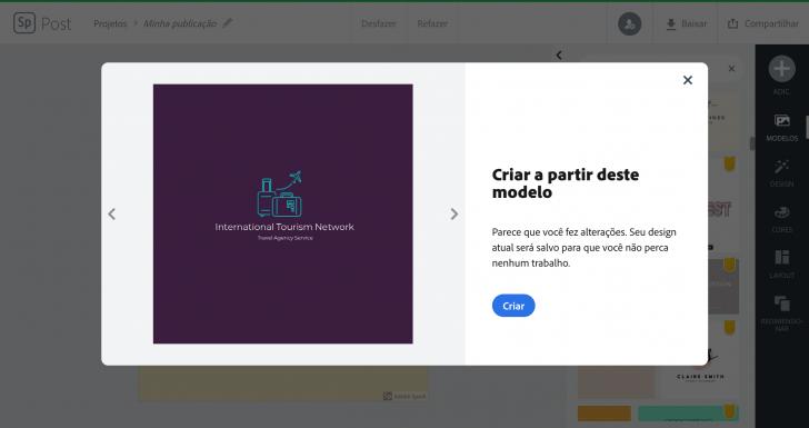 Tela de seleção de modelo de logotipo no Adobe Spark