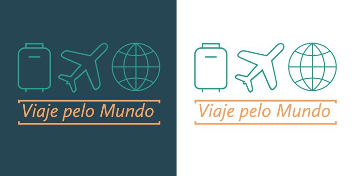 Exemplo de aplicação do logo em fundo colorido e fundo branco