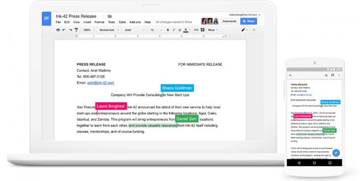 Documentos podem ser editados em tempo real pelos membros da equipe