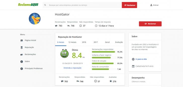 Índice da HostGator no site ReclameAqui