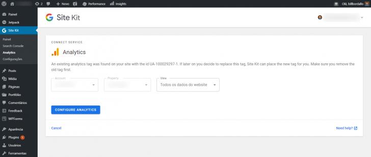 O Site Kit identificou que já existia uma tag do Analytics no site