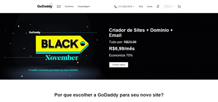 Site da GoDaddy com a página de Black November