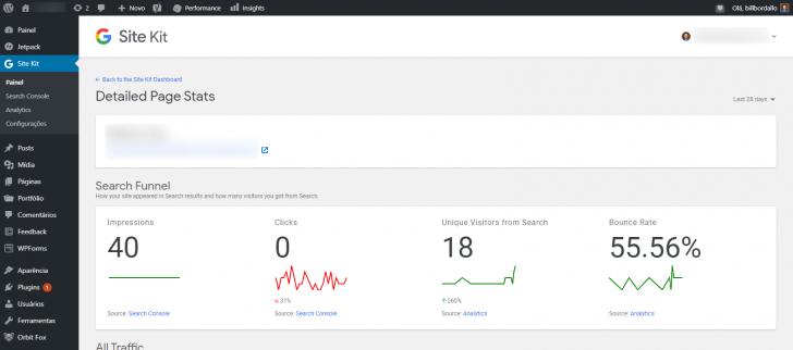 Informações do Google Analytics para uma página específica