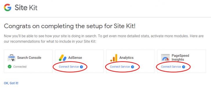 Links para conectar os serviços individualmente ao Site Kit