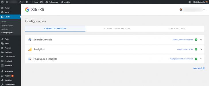 Tela de configurações do plugin Site Kit exibindo os serviços conectados