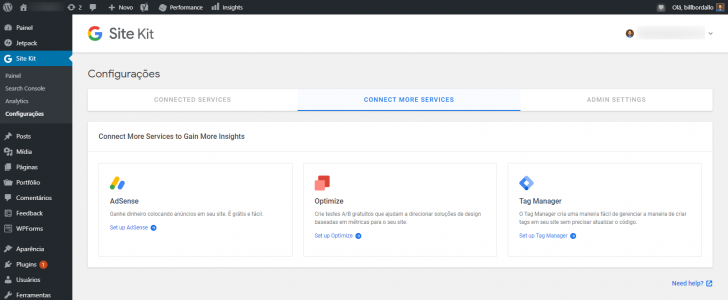 Tela de configurações do plugin exibindo serviços disponíveis para conexão