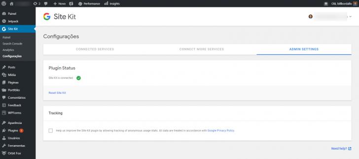 Na tela de status é possível optar por compartilhar dados de uso com os criadores do plugin