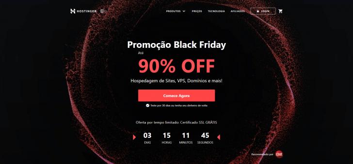 Página da promoção de Black Friday da Hostinger