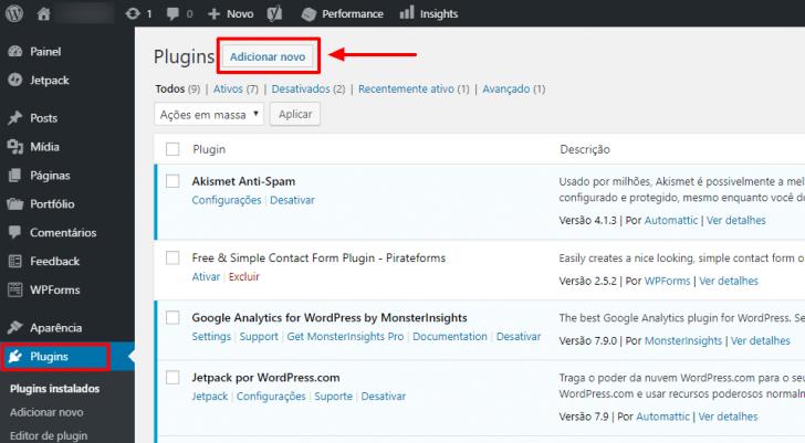 Área de gerenciamento de plugins no painel do WordPress