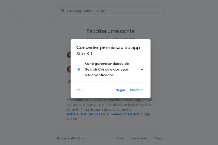 Janela para permissão de acesso aos dados do Search Console pelo plugin