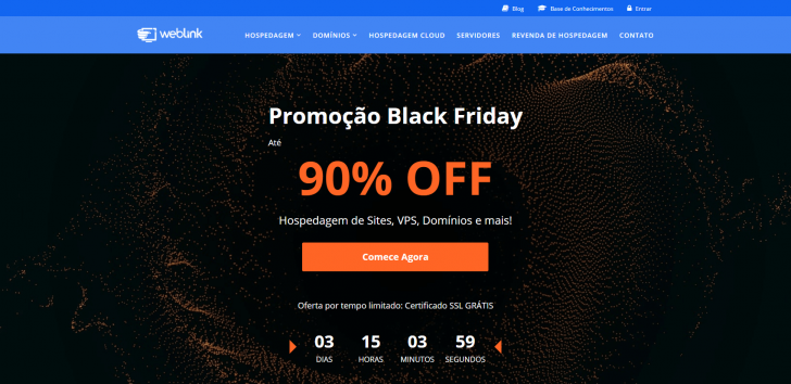Site da WebLink com a chamada para as ofertas de Black Friday