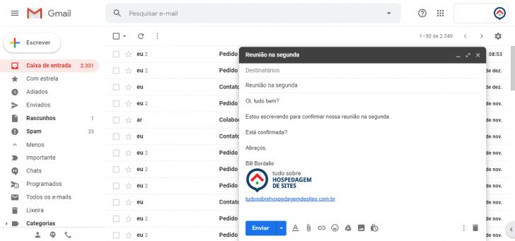 O Gmail é a plataforma de e-mail do G Suite, em uma versão sem anúncios