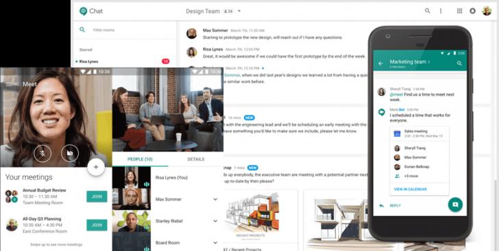 Os Hangouts Chat e Meet são as ferramenta de comunicação instantânea do G Suite - Fonte: G Suite