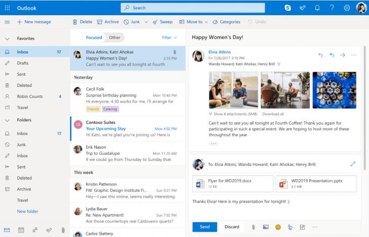 O famoso Outlook é a plataforma de e-mails do Office 365