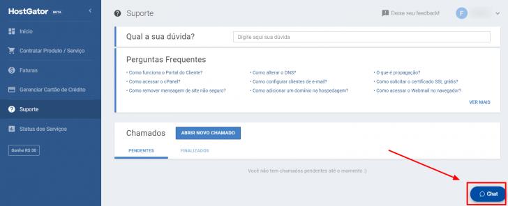 Página de suporte no painel do cliente HostGator, com o botão de chat em destaque
