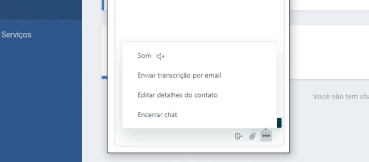 Opções disponíveis na janela de chat da HostGator
