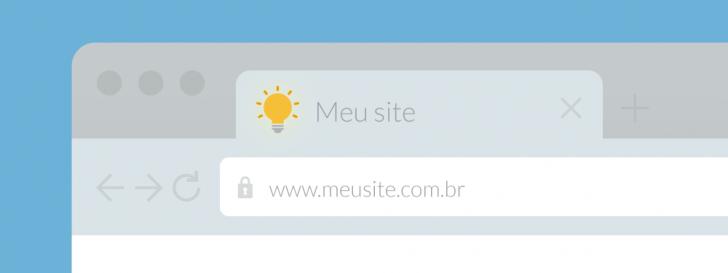 Ilustração de um navegador com destaque para o favicon na aba de um site