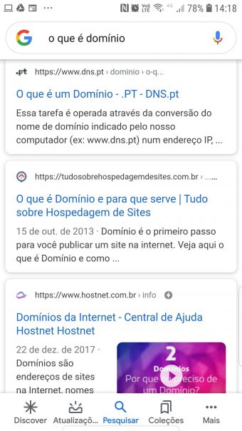 Resultados de pesquisa mobile do Google exibem o ícone ao lado do endereço
