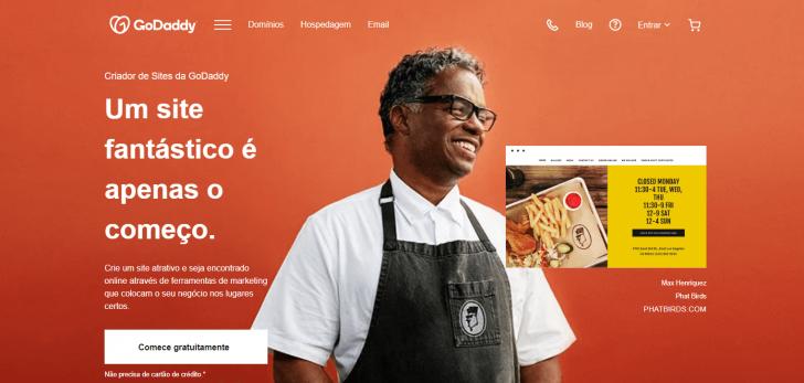 Página do criador de sites e loja online