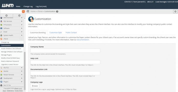 Área para customização das contas cPanel