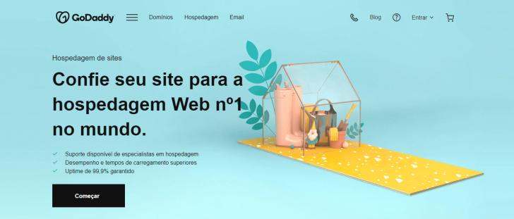 Página da hospedagem de sites da GoDaddy