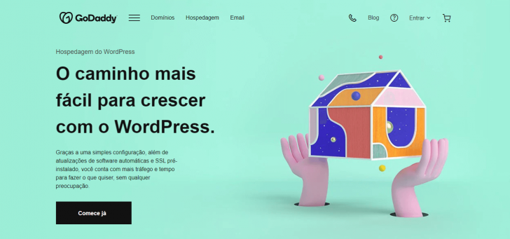 Página da Hospedagem WordPress, no site da GoDaddy