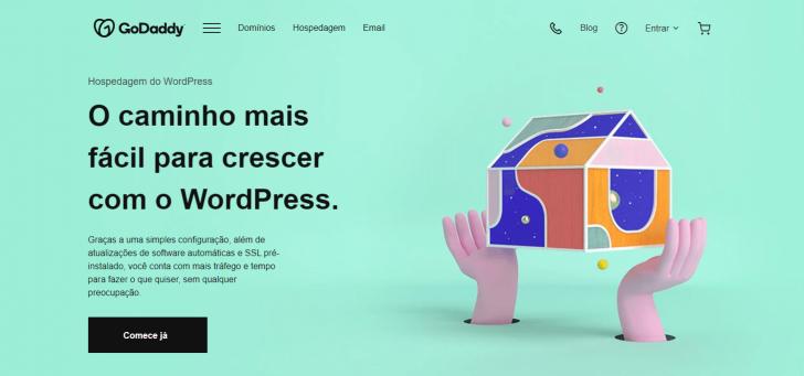 Página da Hospedagem WordPress, no site da GoDaddy
