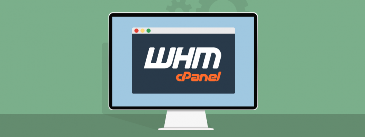 Tela de computador com os logotipos WHM cPanel ao centro.