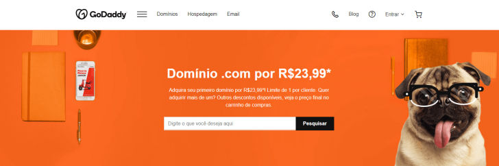 Registro de domínios no site da GoDaddy