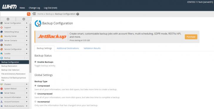 Configuração de backups no WHM