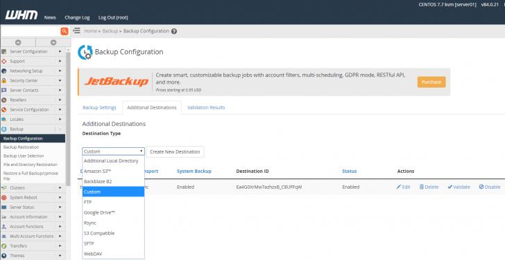 Opções de envio dos backups para servidores externos