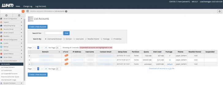 Lista de contas cPanel existentes na instalação do WHM